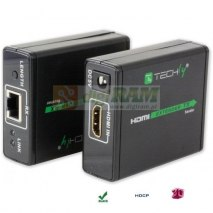 Extender HDMI Techly EXT-E70 po skrętce Cat. 6/6a/7, do 60m, Full HD 3D, czarny IDATA